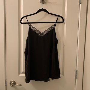 Simons black lace trimmed camisole